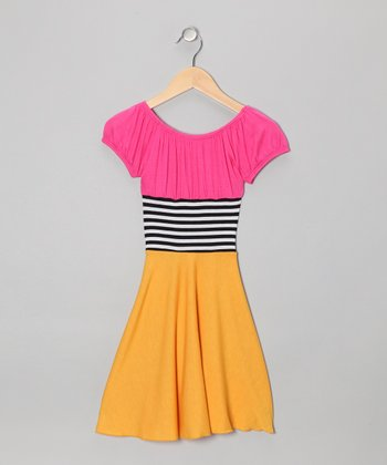 Pink & Yellow Color Block Dress - Toddler