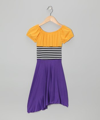 Purple & Yellow Color Block Dress - Toddler