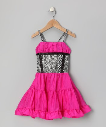 Hot Pink & Black Ruffle Dress - Toddler & Girls