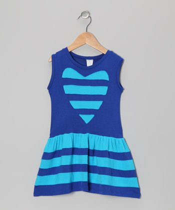 Blue Baby & Blue Heart Stripe Dress - Toddler