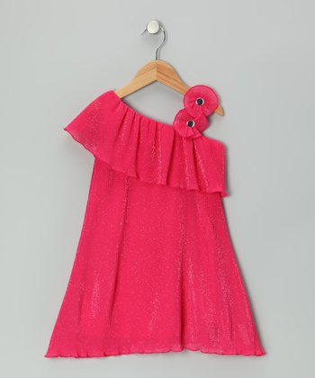 Hot Pink Daisy Asymmetrical Dress - Toddler