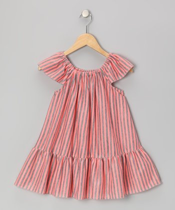 Pink & Gray Stripe Swing Dress - Toddler & Girls