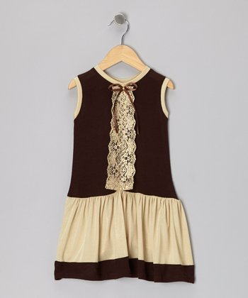 Brown & Gold Lace Dress - Toddler & Girls