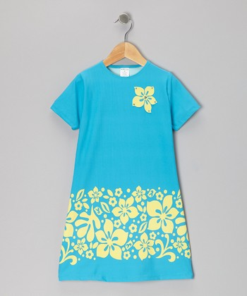 Blue Hibiscus Dress - Toddler & Girls