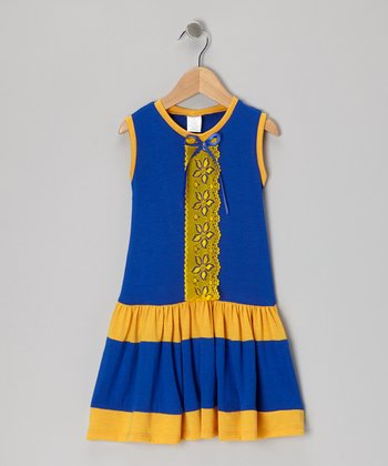 Blue & Yellow Lace Dress - Toddler & Girls