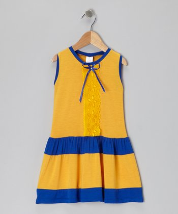 Yellow & Blue Lace Dress - Infant, Toddler & Girls