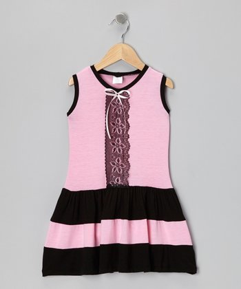 Pink & Black Lace Dress - Infant, Toddler & Girls