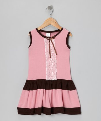 Pink & Brown Lace Dress - Toddler & Girls