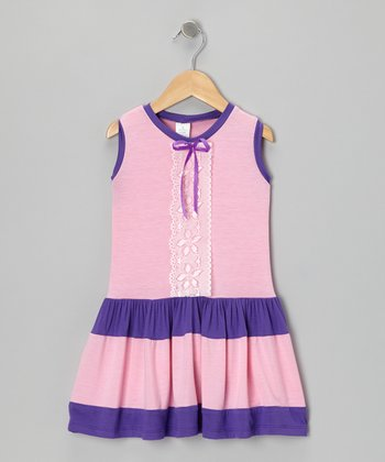 Pink & Purple Lace Dress - Infant, Toddler & Girls