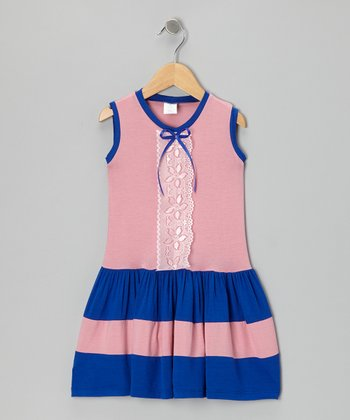 Pink & Blue Lace Dress - Toddler & Girls