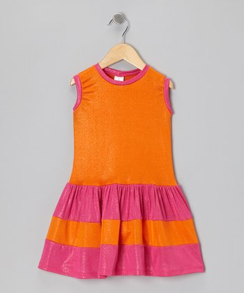 Orange & Fuchsia Stripe Dress - Toddler & Girls