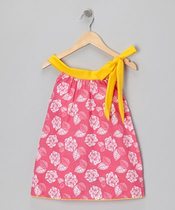 Fuchsia Flower Yoke Dress - Toddler & Girls