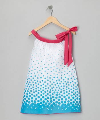 White & Blue Polka Dot Yoke Dress - Toddler & Girls