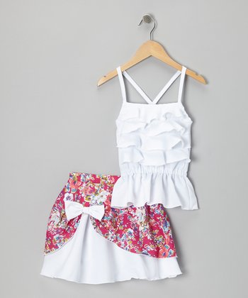 White Ruffle Tank & Pick-Up Skirt - Infant, Toddler & Girls