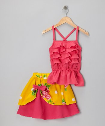 Fuchsia Ruffle Tank & Pick-Up Skirt - Infant & Toddler