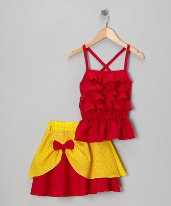 Red Ruffle Tank & Pick-Up Skirt - Infant, Toddler & Girls