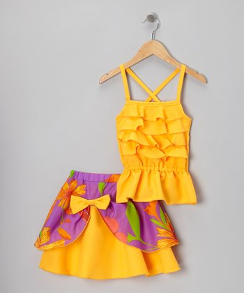 Orange Ruffle Tank & Pick-Up Skirt - Infant, Toddler & Girls
