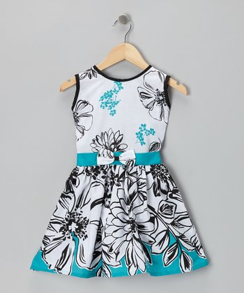 White & Black Flower Dress - Toddler & Girls