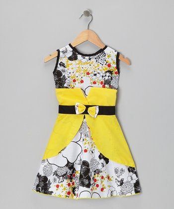 White & Yellow Floral Bow Dress - Infant, Toddler & Girls