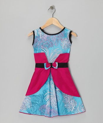Blue & Fuchsia Floral Bow Dress - Infant & Girls