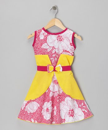 Fuchsia & Yellow Floral Bow Dress - Infant & Girls