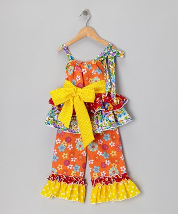 Orange & Yellow Ruffle Tunic & Pants - Infant & Girls