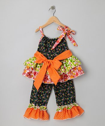 Black & Orange Ruffle Tunic & Pants - Girls