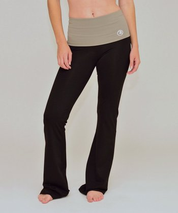 Black & Driftwood Cinch Back Yoga Pants