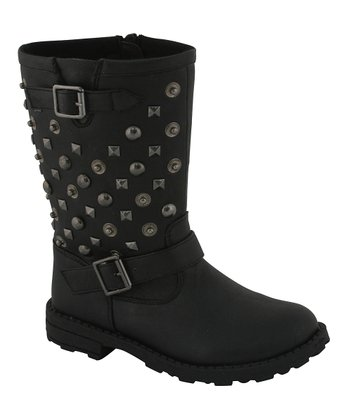 Black Stud Button Boots
