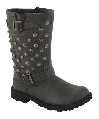 Gray Stud Button Boots