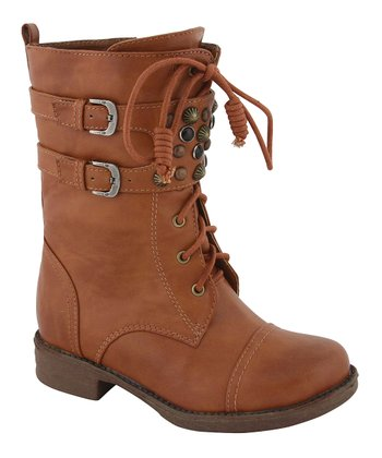 Tan Buckle Stud Boot