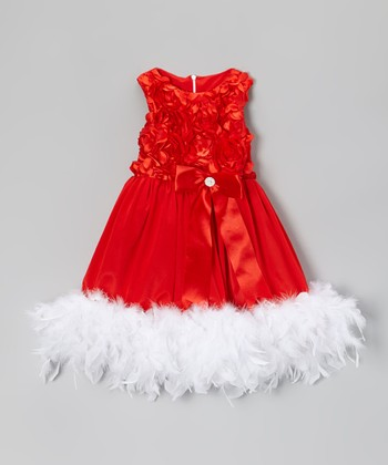Red & White Floral Boa Dress - Infant, Toddler & Girls