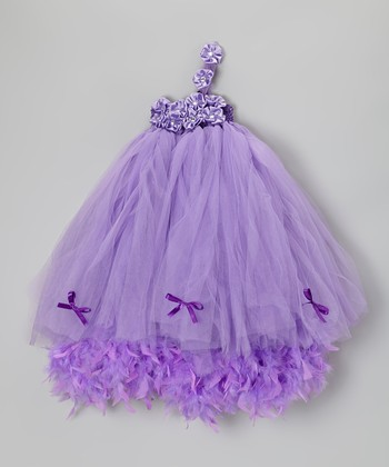 Purple Floral Boa Dress - Infant, Toddler & Girls