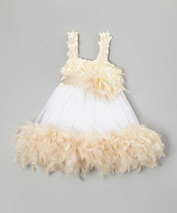 Cream & White Floral Boa Dress & Clip - Infant, Toddler & Girls