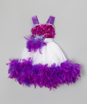 Purple & White Sash Boa Dress & Clip - Infant, Toddler & Girls