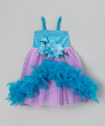 Lilac & Turquoise Flower Boa Dress & Clip - Infant, Toddler & Girls