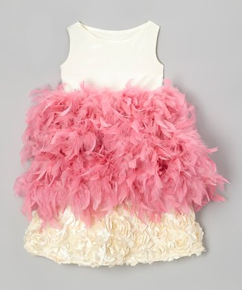 Cream & Pink Hydrangea Feather Dress - Infant & Toddler