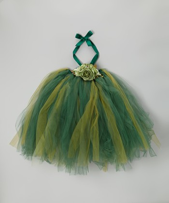 Green & Lime Tutu Dress & Flower Clip - Infant, Toddler & Girls