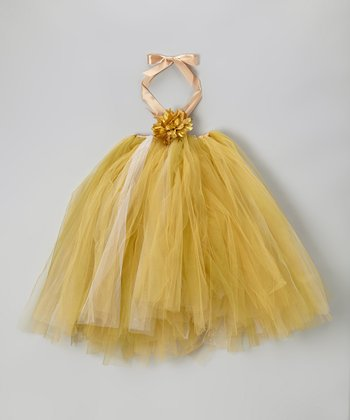 Gold Tutu Dress & Flower Clip - Infant, Toddler & Girls