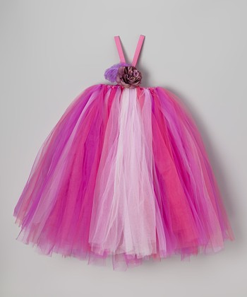 Purple & Pink Tutu Dress & Flower Clip - Infant, Toddler & Girls