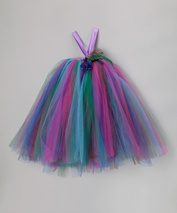 Peacock Tutu Dress & Flower Clip - Infant, Toddler & Girls