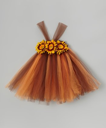 Brown & Orange Sunflower Dress - Infant, Toddler & Girls