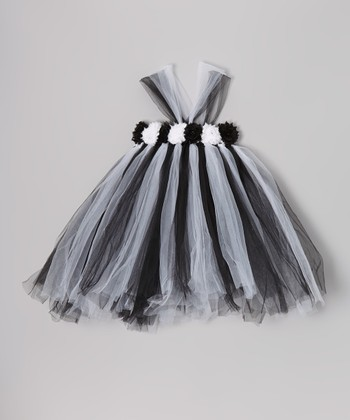 Black & White Flower Tutu Dress - Infant, Toddler & Girls