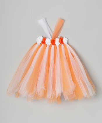 Orange & White Flower Tutu Dress - Infant, Toddler & Girls