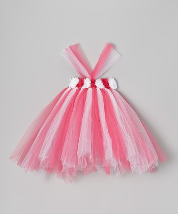 Pink & White Flower Tutu Dress - Infant, Toddler & Girls