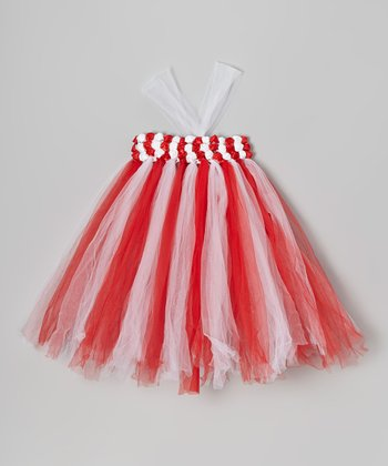 Red & White Flower Tutu Dress - Infant, Toddler & Girls