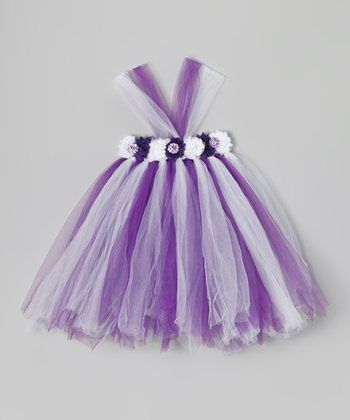 Lilac & White Flower Tutu Dress - Infant, Toddler & Girls