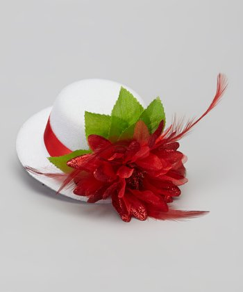 White & Red Flower Mini Top Hat