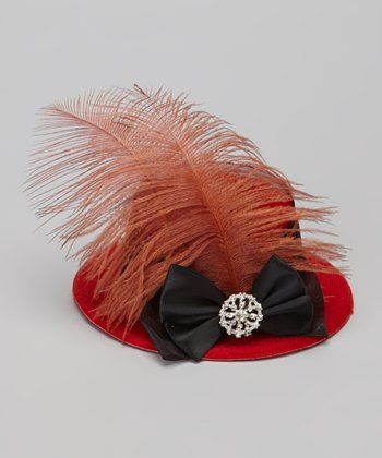 Red & Black Bling Bow Mini Top Hat