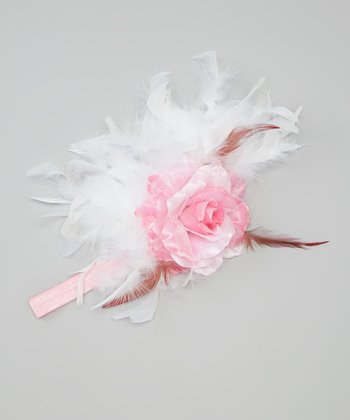 Pink & White Feather Flower Headband